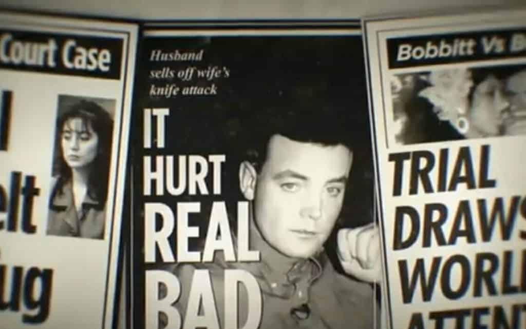 Notícias de jornal da época em que Lorena Bobbitt e John Wayne Bobbitt foram a julgamento.