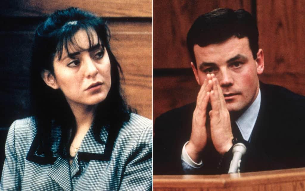 Lorena Bobbitt e John Wayne Bobbitt prestando suas declarações no julgamento.