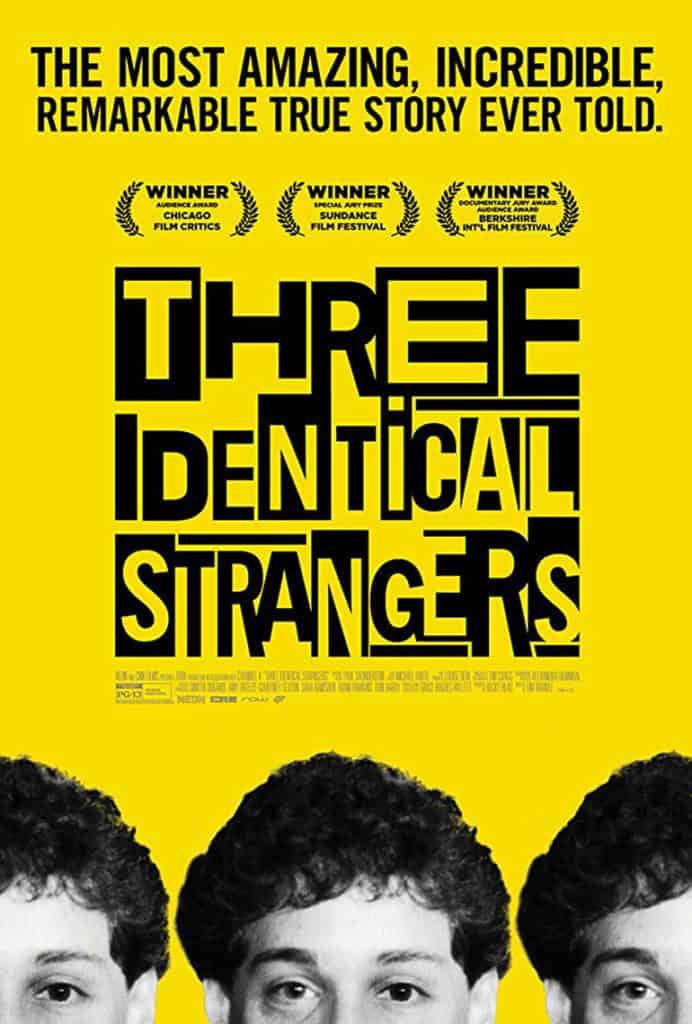 Pôster do documentário Três Estranhos Idênticos (Three Identical Strangers)