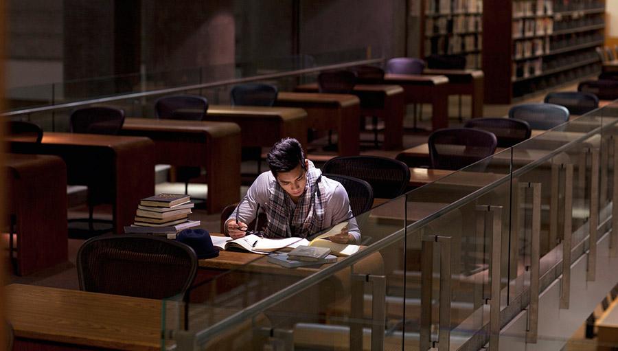 Pessoa estudando sozinha na biblioteca